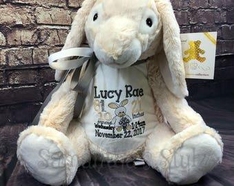 Personalized stuffed Bunny, Personalized Adoption Gift, Personalized baby gift, Keepsake, Subway Art, Stuffed Animal, Easter Bunny gift