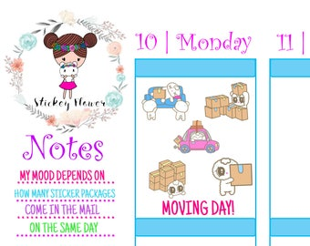 Buttercup - Moving Day Cute Stickers for Personal planners, Erin Condren Life Planner, Happy Planner or Scrapbooking