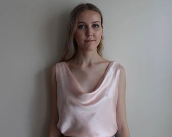 Silk Cowl Neck 90s Pale Pink Top