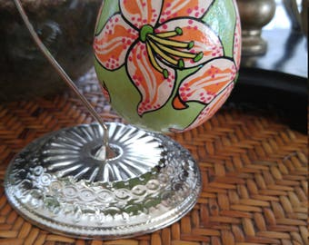 Easter Egg, Large, hand painted Lily decorated egg