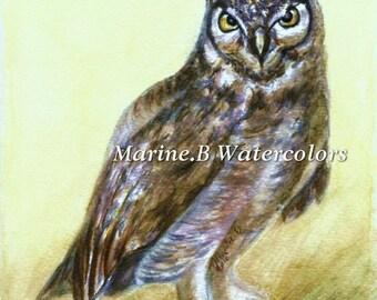 Watercolor Owl Art Print 8 x 10 in