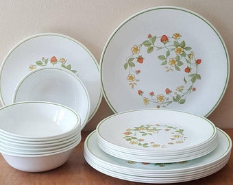 Corelle Strawberry Sundae 24 Pc Set is 8 of Each: Dinner Plate Lunch Plate and Cereal Bowls Made in USA