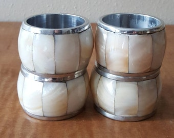 Vintage Napkin Rings 4 White Inlay Chrome Napkin Rings