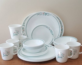 Corelle Corning Rosemarie Dishware Set~30 Piece Set All Pieces Made In USA