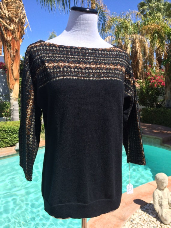Chaps Black and Gold Pullover Sweater,Size Small,Chaps Label,Metallic Embellishments