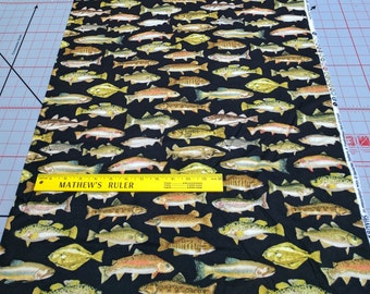 North by Northwest-Freshwater Fish Cotton Flannel Fabric from Kanvas Studios