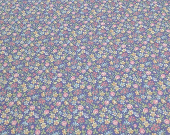 Flowers on Purple Cotton Fabric