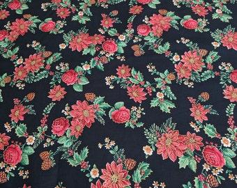 Christmas Flowers Cotton Fabric