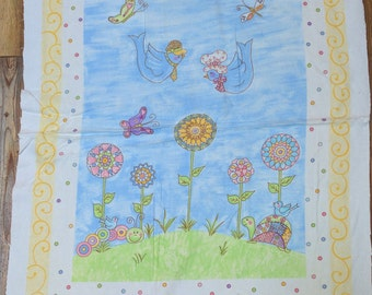 Birds and Flowers Cotton Flannel Fabric Panel