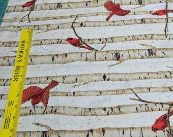 Christmas Cardinals Cotton Fabric from Hoffman Fabrics