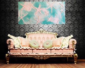 Original starfish painting impasto textured art white teal aqua white beach sea star artwork 48x24
