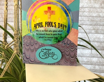 Happy Easter, Happy April Fool's Day, Christian Easter Card, Greeting Card, Combination Easter/April Fool's Greeting Card
