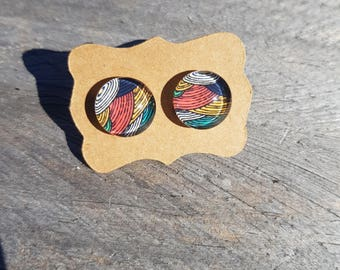 Colourful field studs, glass cabochon earring