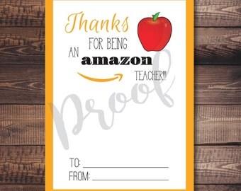 Amazon Gift Card Holder | Teacher Gift Card Holder | Instant Download | Amazon Teacher Gift Card Holder