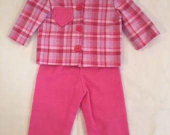 Hot Pink Plaid Flannel Pajamas