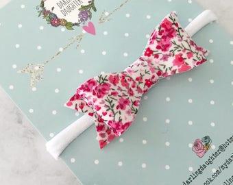 Fabric/Felt Bow Headband Or Hair Clip - Liberty Pink Floral