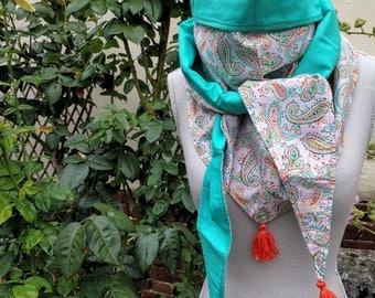 Pink tassels cashmere motfs triangle scarf