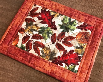 Fall mug rug, snack mat, candle mat, leaves, quilted mug rugs, Quiltsy handmade, Item #231