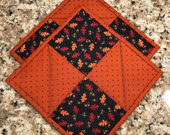 Fall pot holders, Quilted hot pads, cloth trivets, Thanksgiving decor, hostess gift, Quiltsy handmade, Item #278