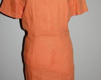 Orange Linen Wiggle Dress- Size 8