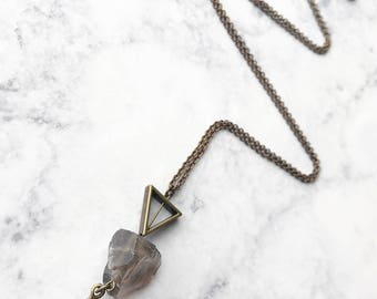 Smokey Quartz Necklace // Long Necklace // Raw Stone Necklace // Raw Quartz Necklace // Unique Long Necklace // Boho Necklace