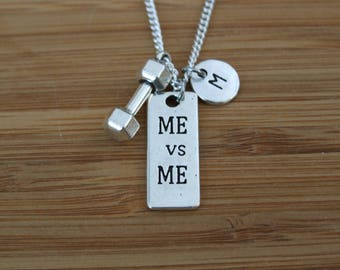 Me vs Me Dumbbell Necklace, Fitness Jewelry, Personalized Necklace, Fitness Gifts, Strength Necklace, Weight Lifting Necklace Gift