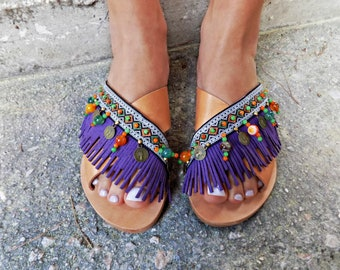 """Handcrafted leather sandals, Greek leather sandals, Handmade sandals, Colorful sandals, """"Mohawk"""" Sandals, Bohofestival Sandals, Slides"""