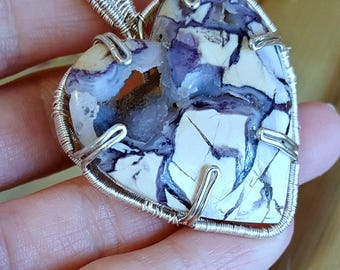 Utah Tiffany Stone Heart Cabochon, Tiffany stone pendant, Wire wrapped pendant, Sterling silver, Large Tiffany stone necklace,