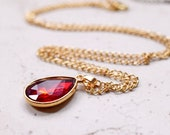 Power Red Jewel Necklace, Bright Red Rhinestone Teardrop Pendant, Estate Style Jewelry, Blood Red and Gold Chain