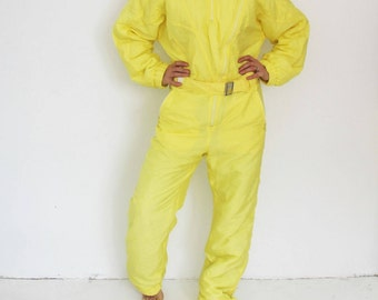 Bright Yellow One Piece Ski Suit Retro Yellow Snowsuit Hipster Snow Pants Outdoor Winter Wear Snow Jumpsuit Medium Large Made In Portugal