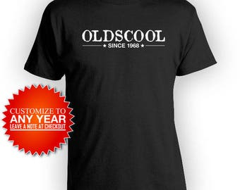 50th Birthday T Shirt Custom Birthday Shirt Birthday Present For Him Bday TShirt Personalized Oldscool Since 1968 Birthday Mens Tee - BG442