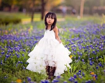 Beach Boho White Flower Girl Dress, Girl Toddler High Low Maxi Dress, Hi Low Dress, Twirl Dress, Shabby Chic Princess Dress