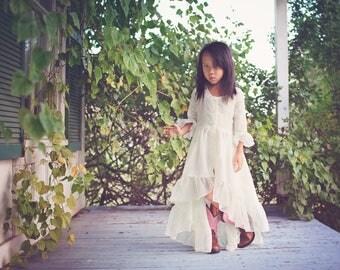 Ivory Beach Boho Flower Girl Dress, Girls Bohemian High Low Dress, Hi Low Dress, Junior Bridesmaid Dress, Girl Toddler Maxi Dress