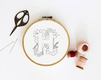 Letter H Embroidery Pattern, Floral Embroidery Pattern, PDF Embroidery Pattern, Initials Embroidery Pattern, Embroidery Design PDF Download