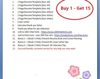 resume template cv template resume instant download 3 page resume cv instant - Ce Resume