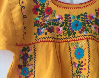 Vintage Yellow Mexican Hand Embroidered shirt