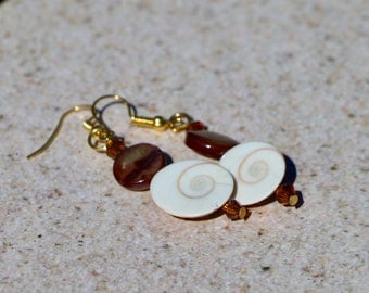 Moon Shell and Mother of Pearl Earrings