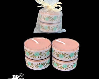"Scented Tea Lights, Log Cabin Scent, Brown and Teal Flowers, 1.5""w x .75""h, Soy, Organza Pouch x3, Wedding, Bride, Tables, Candles"