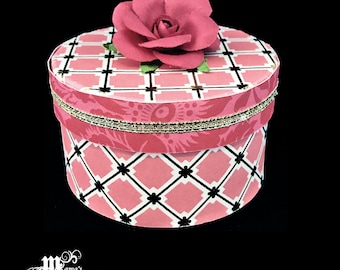 Pink and Gold Squares with Pink Roses Paper Mache Jewelry Box, Pink Roses, Spring Rose Collection, Storage Box, Trinket Box, Squares, Gift