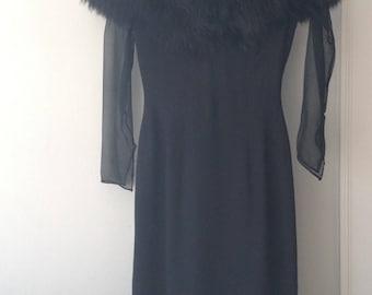 Vintage Fur Trimmed Black Dress