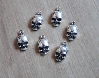 Jewellery findings jewellery blanks make your own jewellery silver skull charms silver metal skull charms pack of 6 silver coloured metal skull aloadofball Gallery