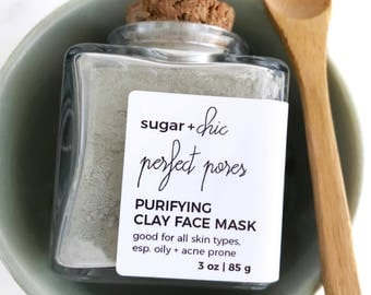PURIFYING Green Clay Mask, Detox Face Mask, French Green Clay, Detoxifying Mask, Shrink Pores, Acne Mask, Oily Skin, Vegan, All Natural