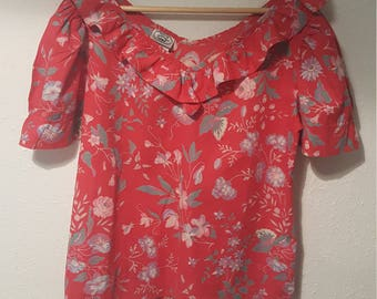 1980s Laura Ashley vintage blouse•floral blouse•red blouse•cotton blouse•ladies top•womens top•UK 12/14/•US 10/12