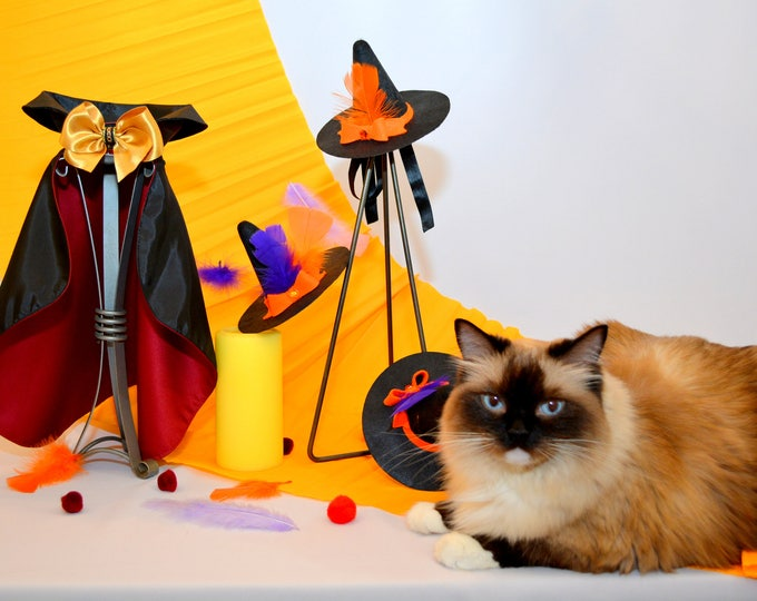 Featured listing image: Dracula Cat Costume - Halloween Cloak Costume for Cats - Luxury Pet Cape
