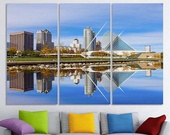 Milwaukee Canvas Art Wisconsin Cityscape Milwaukee Wall Art Milwaukee Skyline Milwaukee Wall Decor Milwaukee Print Milwaukee Poster