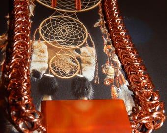 Polished Orange Carnelian Stone on a Large Handmade Copper Inca Puno Chain.