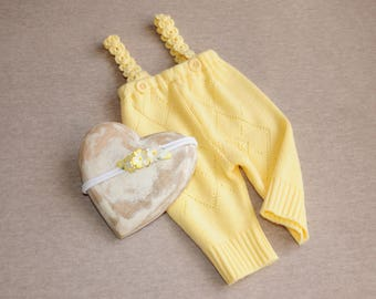 Romper & matching headband for Newborn, Baby yellow overall, Photography prop outfit