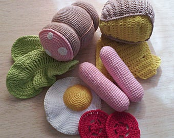 Crochet Play Food - 11 pcs), pretend play toy,play food,Crochet Food, Kitchen Decor,Play Kitchen Food Toy,Play Food Set,Sausage, cheese.