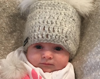 FREE SHIPPING! Easter Sale! 0-3 Months - Grey Crocheted Baby Pom Pom Beanie - Made with Ultra Soft Alpaca Wool Blend