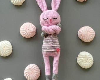Amigurumi bunny. Crochet bunny. Pink bunny. Bunny toy.